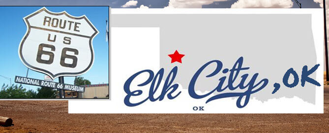 Elk City, OK with route 66 sign and Oklahoma silhouette