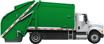 Green garbage truck with blank background