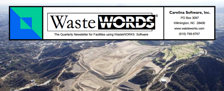 Waste Words logo, a quarterly newsletter for facilities using WasteWORKS Software