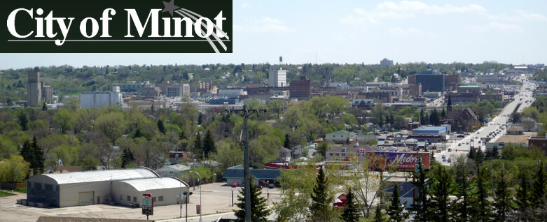 City of Minot logo, street downtown and surrounding Minot landfill