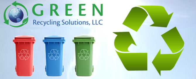Green Recycling Solutions, LLC with recycling logo and recycle cans